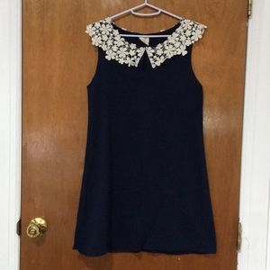 Navy dress with floral collar